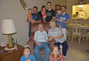 Penny's parents, all 3 of our boys and our 5 grandkids!